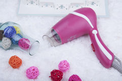 Pink Hair dryer. A new fashion pink hair dryer Stock Images