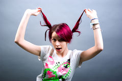Pink hair emo girl Stock Photo
