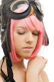 Pink hair girl in aviator helmet Stock Images