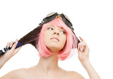 Pink hair girl in aviator helmet Royalty Free Stock Images