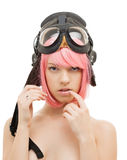 Pink hair girl in aviator helmet Royalty Free Stock Photography