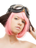 Pink hair girl in aviator helmet Stock Photos