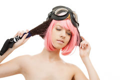 Pink hair girl in aviator helmet Royalty Free Stock Image