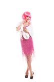 Pink hair girl dressed as Merelyn Monroe isolated Royalty Free Stock Photos