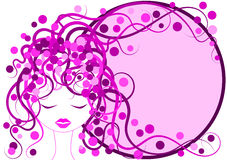 Pink Hair Girl Frame border Royalty Free Stock Photography