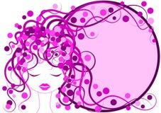 Pink Hair Girl Frame border Royalty Free Stock Photography