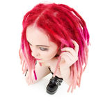 Pink hair girl in high boots Royalty Free Stock Images