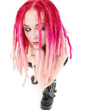 Pink hair girl in high boots Royalty Free Stock Photography