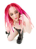 Pink hair girl in high boots Stock Photography
