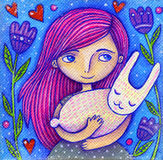 Pink Hair Girl With Rabbit Royalty Free Stock Images