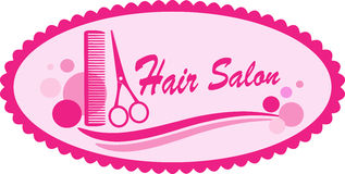 Pink hair salon symbol Royalty Free Stock Image