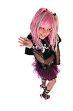 Pink haired girl waving Stock Image