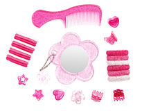 Pink hairstyle accessories collection Stock Photo