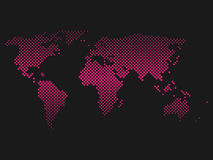Pink halftone world map of small dots in diagonal arrangement. Bilinear horizontal gradient. Simple flat vector Royalty Free Stock Photo