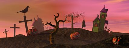 Pink halloween scene Royalty Free Stock Images