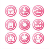 Pink halloween signs. Set of 9 pink halloween signs Royalty Free Stock Photos