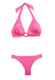 Pink halter bikini. Isolated on white background. Clipping path included Royalty Free Stock Photography