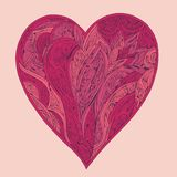 Pink hand drawn heart with ornament. Pink hand drawn vintage heart with ornament royalty free illustration