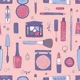 Pink hand drawn makeup and cosmetic seamless pattern. Stock Images
