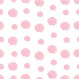 Pink hand drawn watercolor polka dot seamless Stock Photos