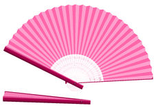 Pink Hand Fan Open Closed. Pink hand fan for cooling when overheated for whatever reason - open and closed - three-dimensional - realistic. Isolated vector Stock Photography