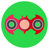 Pink hand-spinner in the form of a bat. Icon a flat style. Vector image on a round light green background. Element of Royalty Free Stock Photos