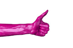 Pink hand on white background, isolated, paint Stock Images