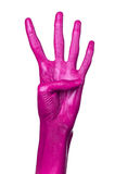 Pink hand on white background, isolated, paint Stock Photo