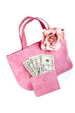 Pink handbag with money Stock Photo