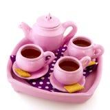 Pink handcraft crockery Royalty Free Stock Photos