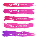 Pink handdrawn long strokes banners set Royalty Free Stock Images