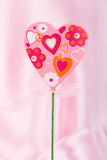 Pink handmade heart Stock Photography