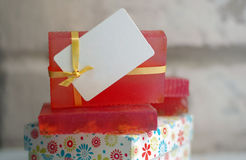 Pink handmade soap. In a gift box Stock Photography