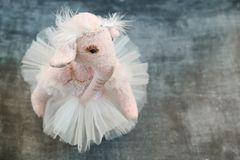 Pink handmade toy elephant ballerinа in white Stock Images