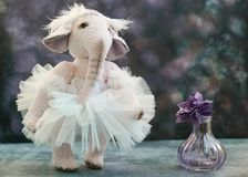 Pink handmade toy elephant ballerinа in white Royalty Free Stock Images