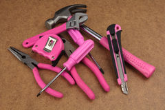 Pink handy tools Stock Photo