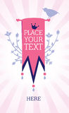 Pink hanged banner in vintage style Royalty Free Stock Image
