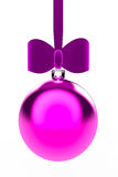 Pink Hanging Bauble. A pink Christmas bauble hanging from a pink velvet ribbon with a bow Stock Photography