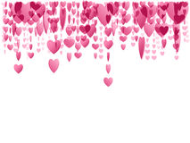 Pink hanging hearts. Pink translucent hearts hanging and falling from above Stock Photo