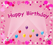 Pink Happy Birthday Balloons. Frame or background design of balloons, bubbles, sparkles and the words Happy Birthday on Pink with spotlights Royalty Free Stock Photos