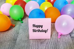 Pink Happy Birthday Card with Balloons Stock Photos