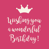 Pink Happy Birthday card with a princess crown. Cute Happy Birthday card with a text and a princess crown on a pink background Royalty Free Stock Photography