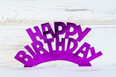 Pink Happy Birthday Text. Pink Happy birthday sign for greeting cards royalty free stock photo