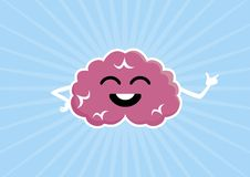 Pink happy brain vector illustration. Brain cartoon character. Cheerful mind vector illustration. Happy brain icon vector illustration