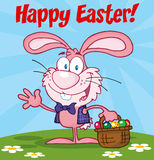 Pink Happy Easter bunny carrying a basket of eggs Stock Photography