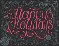 Pink Happy Holidays lettering with ornament on grunge black background Royalty Free Stock Photo