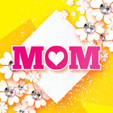 Pink Happy Mothers Day. Brilliant stones. Paper cut flower. MOM. Heart. Rhombus frame Royalty Free Stock Images