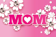 Pink Happy Mothers Day. Brilliant stones. Paper cut flower. MOM. Heart. Stock Photography