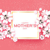 Pink Happy Mothers Day. Brilliant stones. Paper cut flower. Square frame. Stock Images