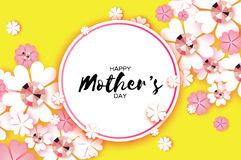 Pink Happy Mothers Day. Paper cut Floral Greeting card . Brilliant stones. Circle frame. Stock Photos